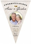 Personalised Pearl 30th Wedding Anniversary Celebration PHOTO Flag Bunting Banner - N60